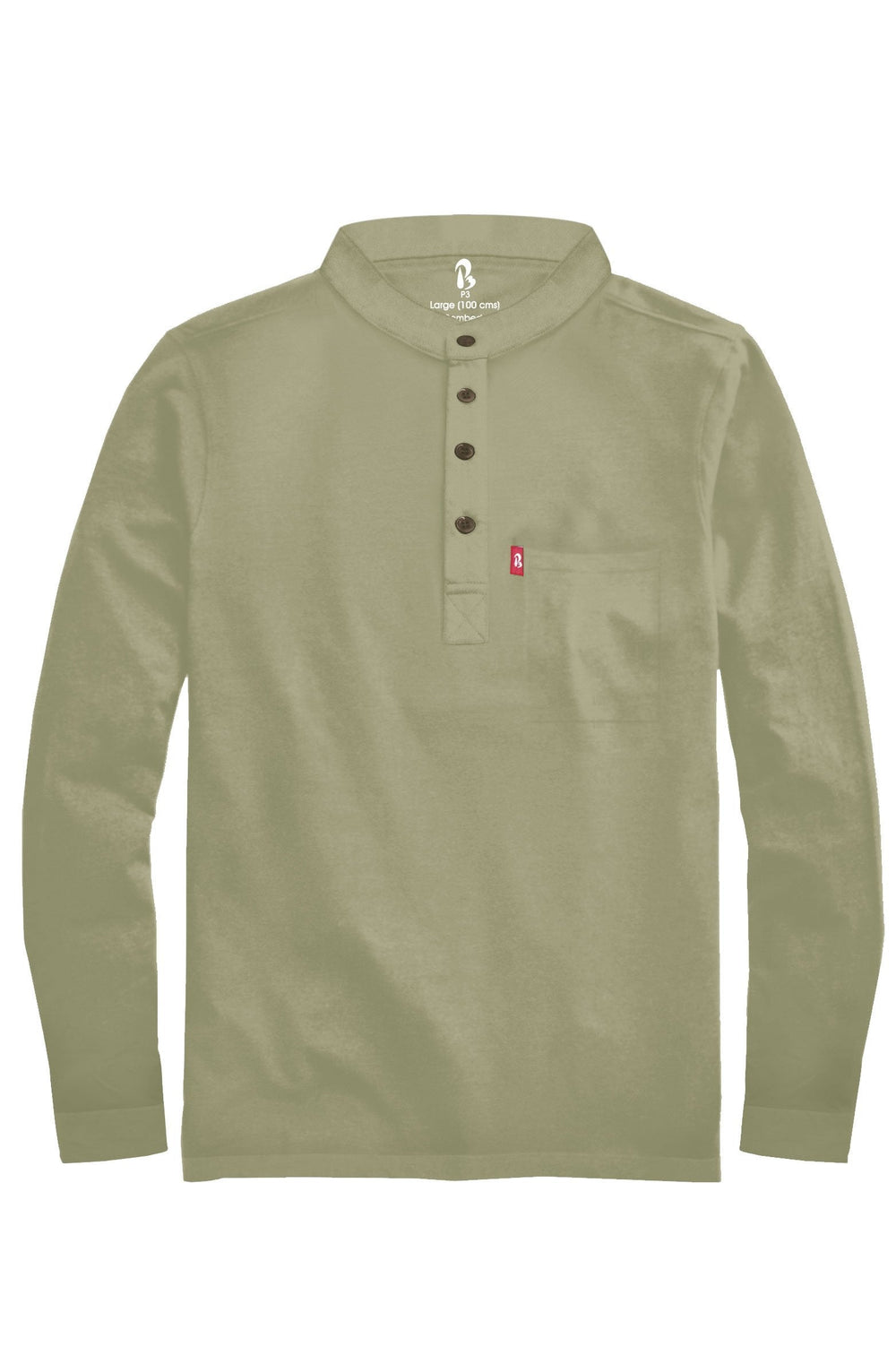 "Cuffed Mandarin Henley (MRP inclusive of all taxes) Mandarins P3 Small/ 90 cms/ Ideal for shirt size 38"" Glades"