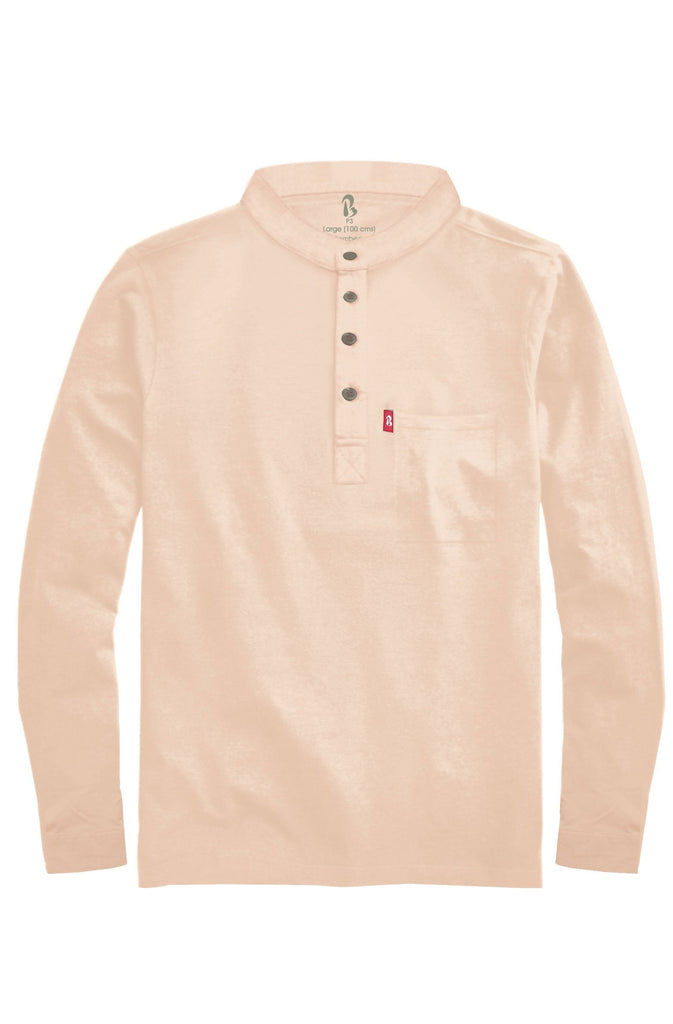 "Cuffed Mandarin Henley (MRP inclusive of all taxes) Mandarins P3 Small/ 90 cms/ Ideal for shirt size 38"" Sandalwood"