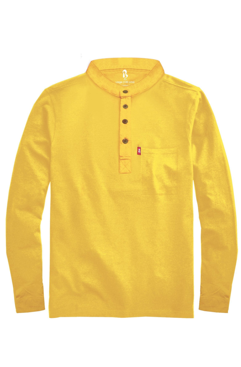 "Cuffed Mandarin Henley (MRP inclusive of all taxes) Mandarins P3 Small/ 90 cms/ Ideal for shirt size 38"" Sweet yellow"
