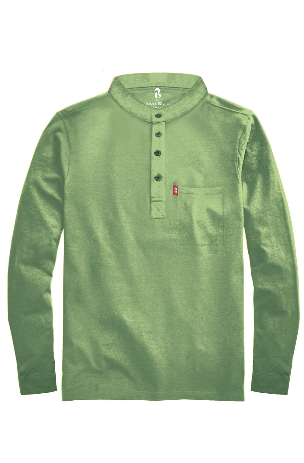 "Cuffed Mandarin Henley (MRP inclusive of all taxes) Mandarins P3 Small/ 90 cms/ Ideal for shirt size 38"" Tulsi"