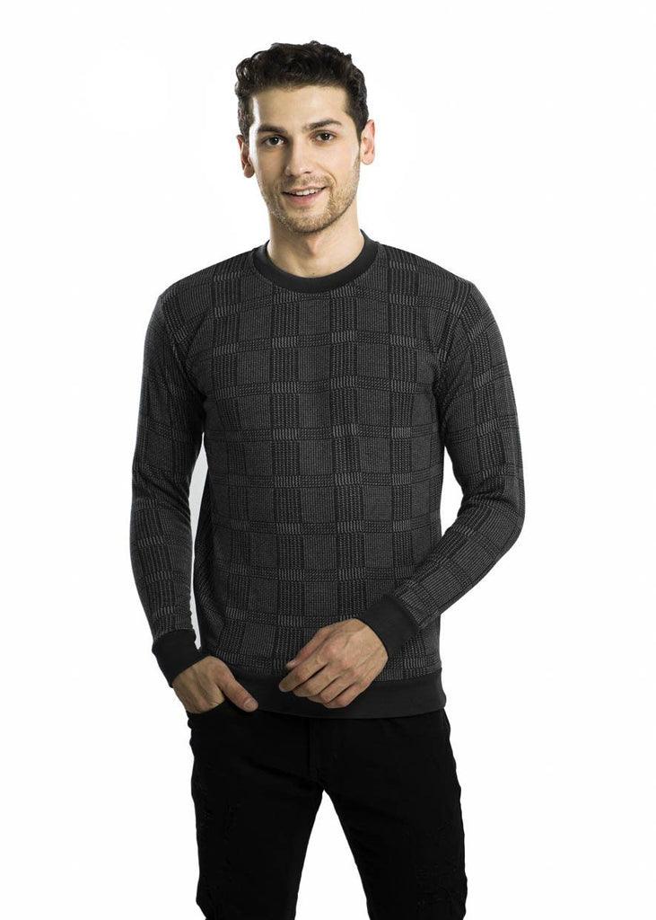 Dark Night Square-Patterned Fleece Sweater P3