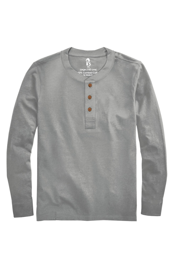 French Terry Thermabrium Ribbed Henley (Without Pocket) (MRP inclusive of all taxes) Full Sleeve Ribbed Henleys P3