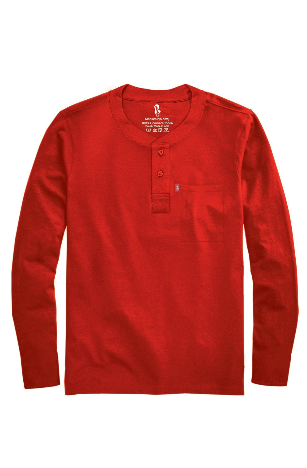 Jester Red Ribbed Henley (Full Sleeved) Ribbed Henleys P3 90 cms (SMALL) Jester Red