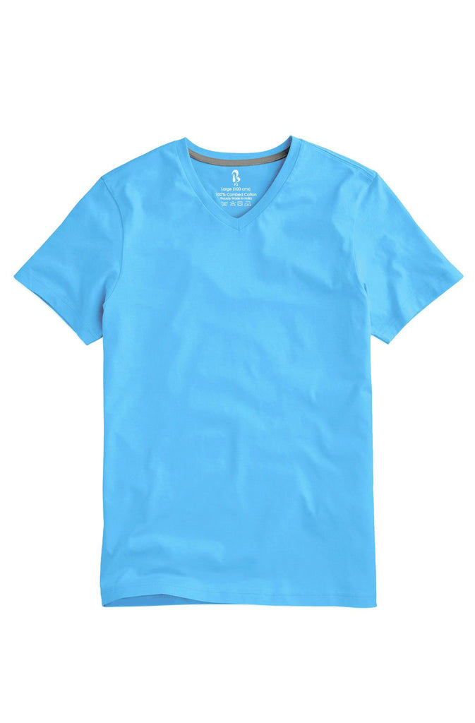 Morning Sky Blue V-Neck Tee (MRP inclusive of all taxes) V Neck T-Shirt P3
