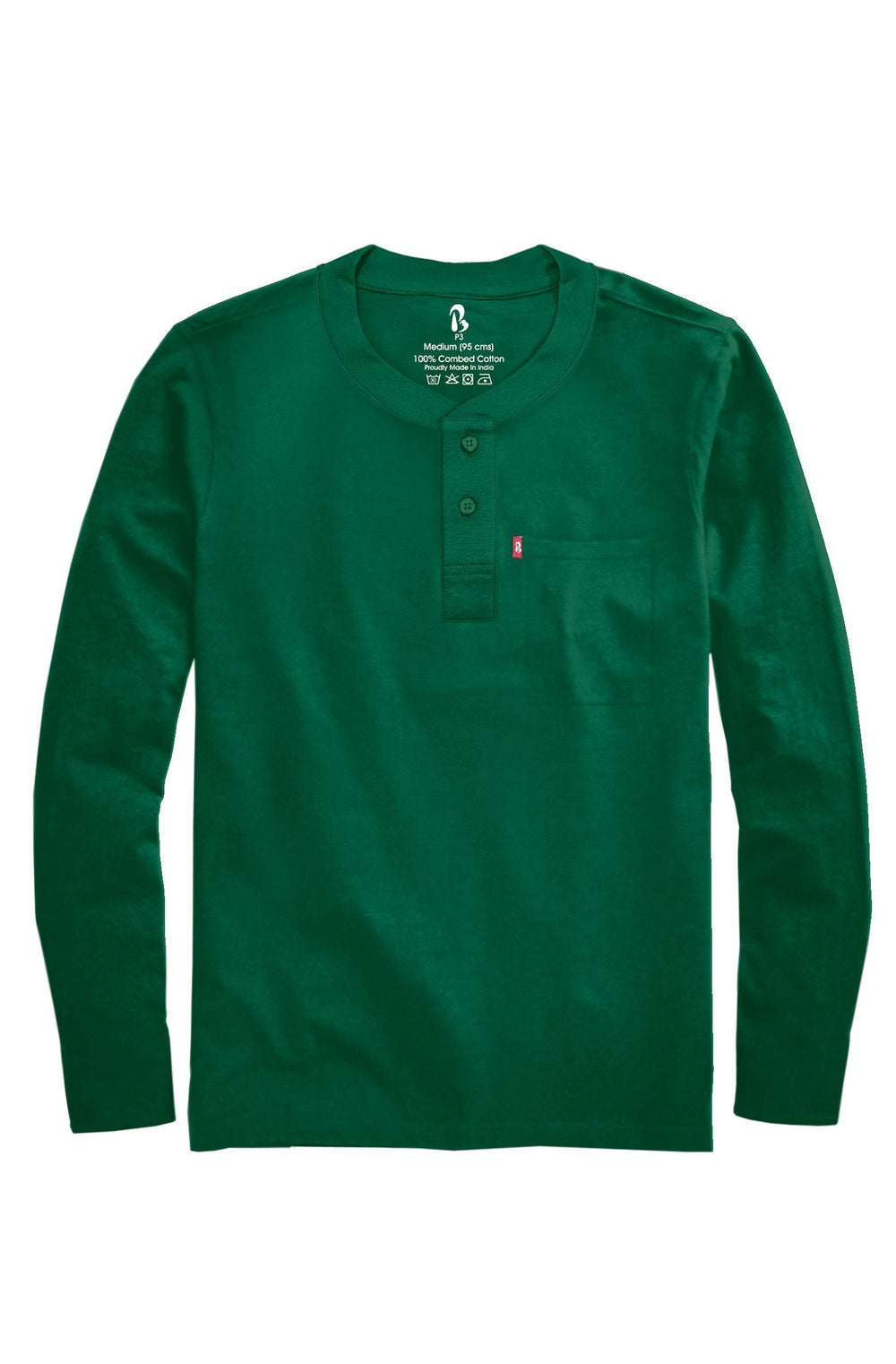 Pine Green Ribbed Henley (Full Sleeved) Ribbed Henleys P3