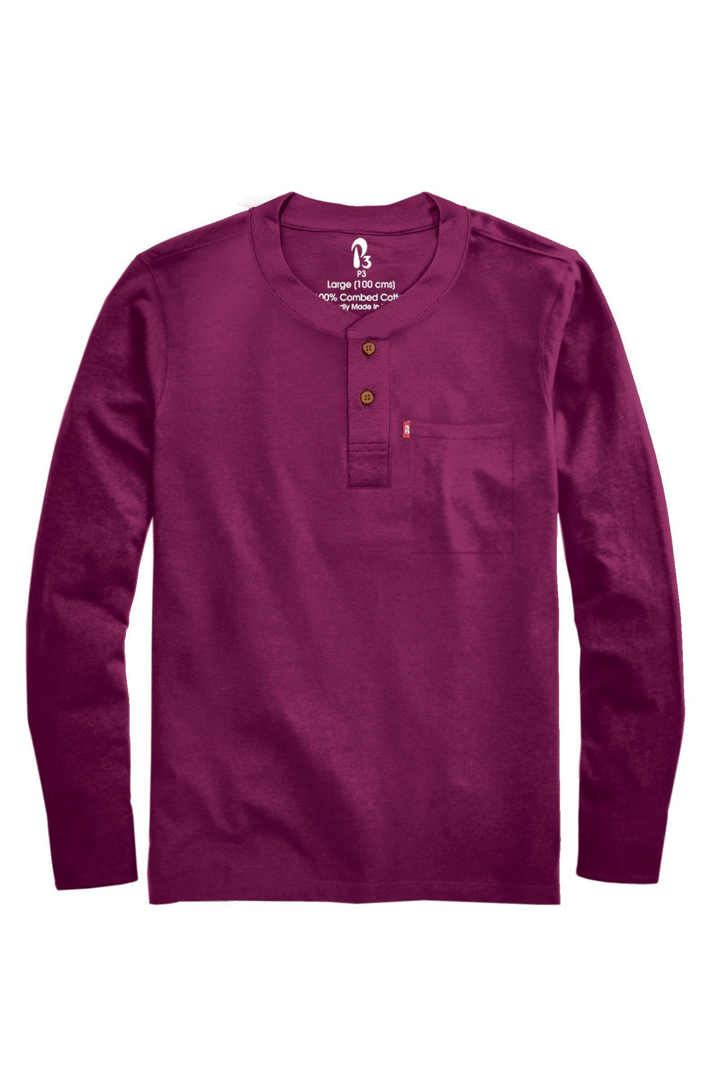 Sober Maroon Ribbed Henley (Full Sleeved) (MRP inclusive of all taxes) Full Sleeve Ribbed Henleys P3 Small/ 90 cms Sober Maroon