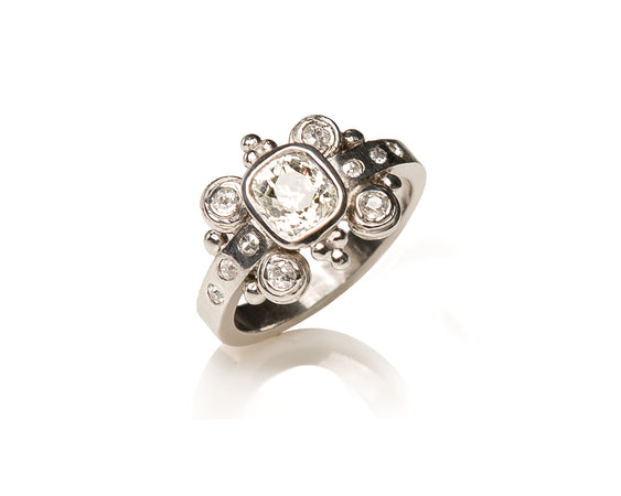Bespoke Tales: Baroque Inspired Ring with Georgian Cushion Cut White Diamond