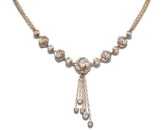 Bespoke Tales: Edwardian Diamond Loveknot Necklace & Earrings