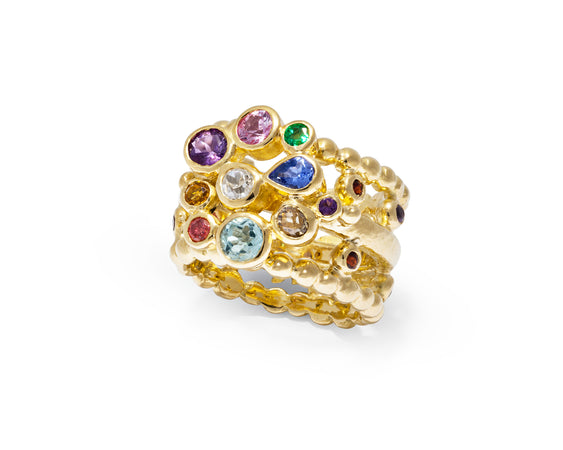 Bespoke Tales: 18ct Gold Bejewelled Ring with Vibrant Coloured Gem Stones