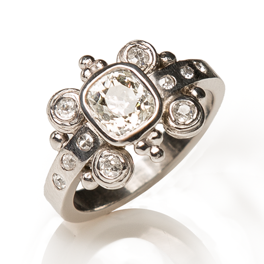 18ct White Gold bespoke ring upcycled from engagement ring designed by Sophie Harley London