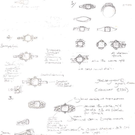 bespoke design sketches by sophie harley london
