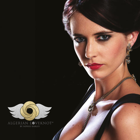 Eva Green wearing the Algerian Loveknot<sup>®</sup> Necklace from the James Bond movie Casino Royale and Quantum of Solace, designed by Sophie Harley.