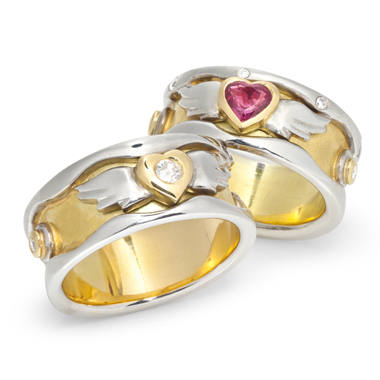 Bespoke wedding rings to celebrate 25th wedding anniversary by Sophie Harley.