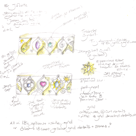 Bespoke jewellery design sketch for venetian inspired wedding anniversary ring