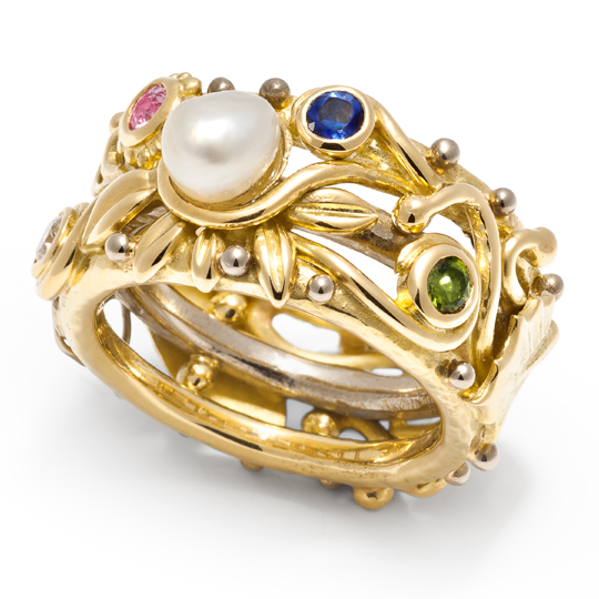 Bespoke jewellery design by Sophie Harley London in 18ct gold with precious stones