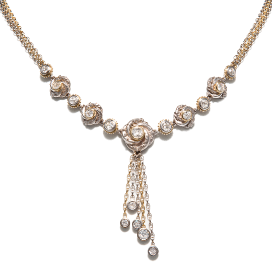 Diamond algerian loveknot necklace bespoke design by Sophie Harley London inspired by Bond movie necklace