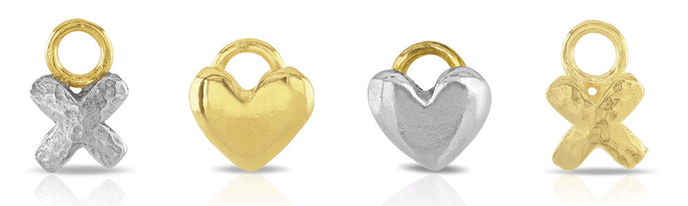 Kiss and Heart Charms for Demi-Bespoke Jewellery by Sophie Harley London.