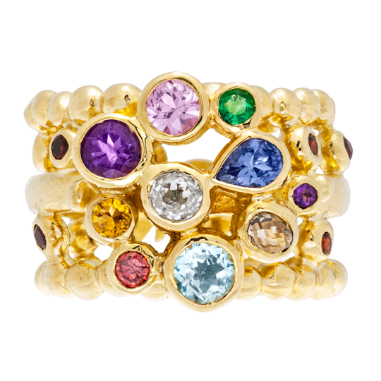 Bejewelled rings a bespoke design by Sophie Harley London
