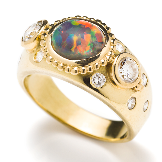 A rare, beautiful and historic opal ring designed by Sophie Harley.