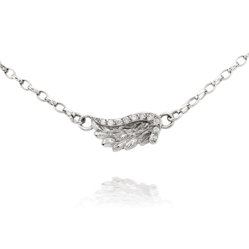 White Gold Diamond Venetian Wing Necklace
