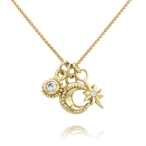 Gold & Diamond Cosmic Cluster Necklace