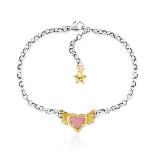 Pink Enamel Winged Heart Bracelet