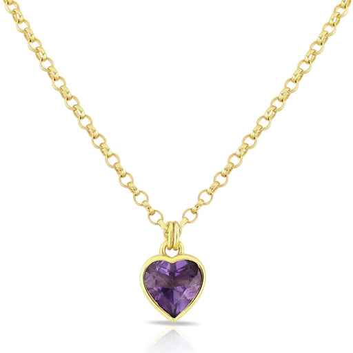 Amethyst Set Heart Necklace in Fully Gold Plated Silver