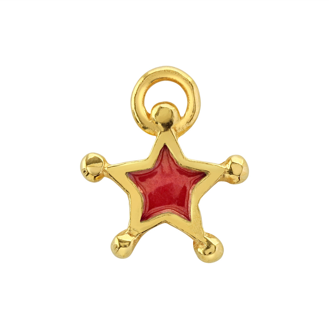 Red Enamel Star Charm