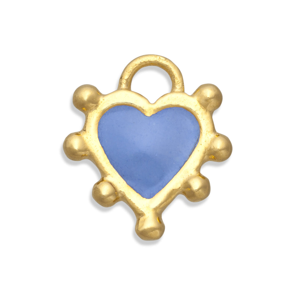 Cornflower Blue Boho Heart Charm