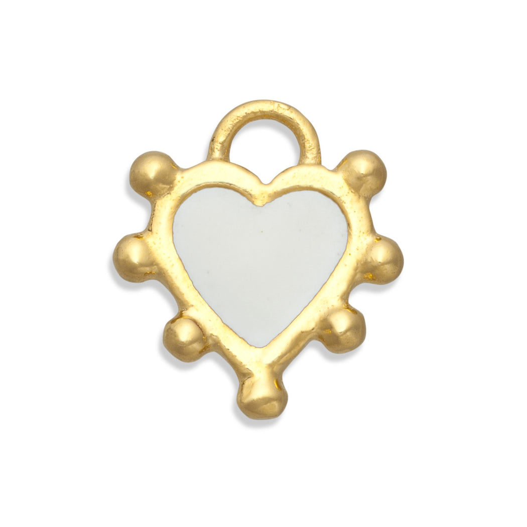 Snow White Boho Heart Charm
