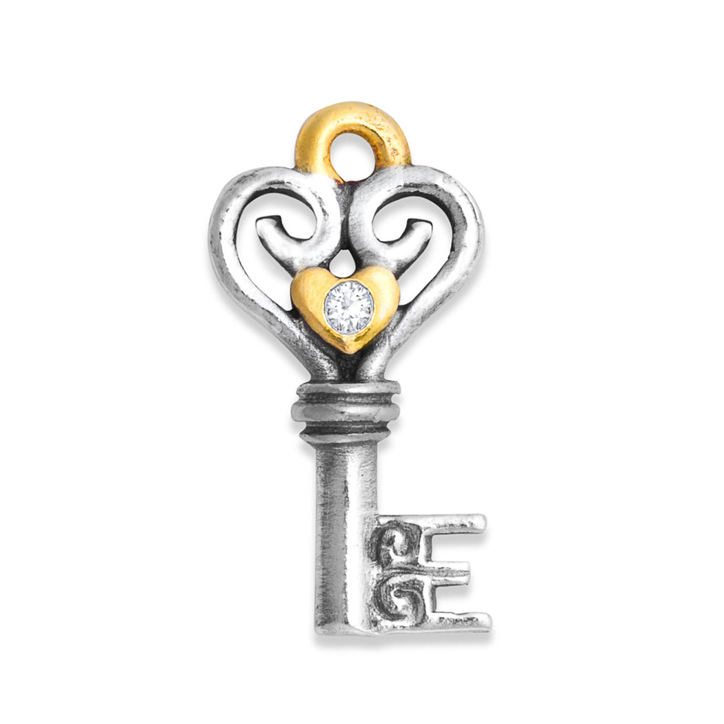 Diamond Heart Key Charm