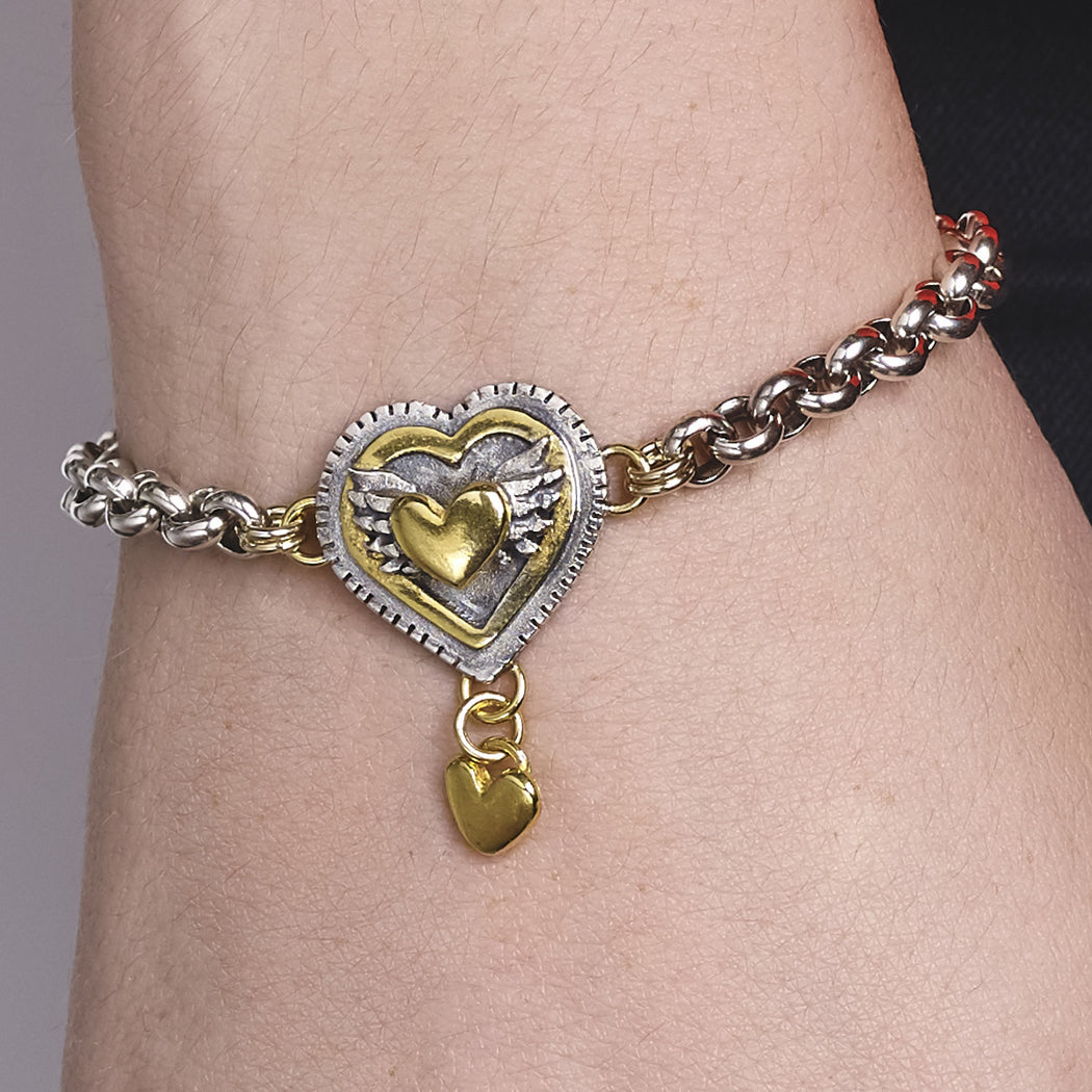 Layered Winged Heart Bracelet