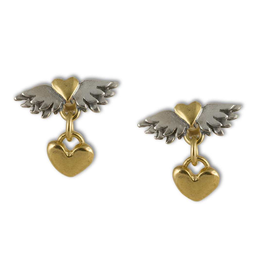 Classic Winged Heart Drop Earrings
