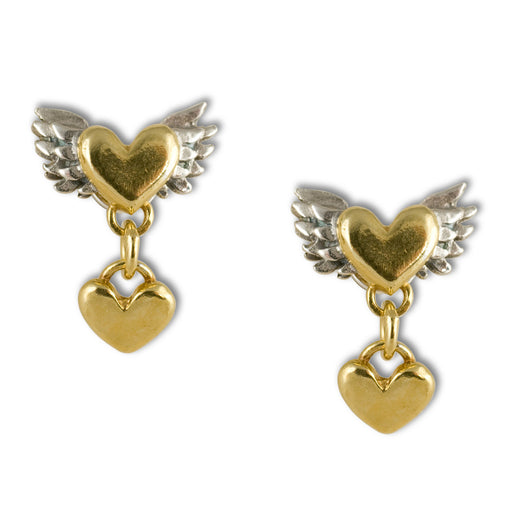 Chubby Winged Heart Drop Earrings