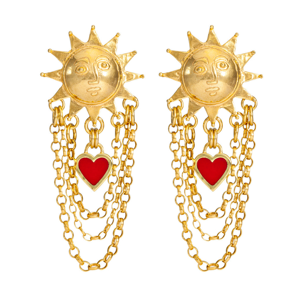 Solar Chain Drop Earrings