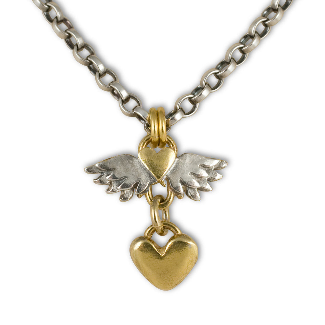Classic Winged Heart Drop Necklace