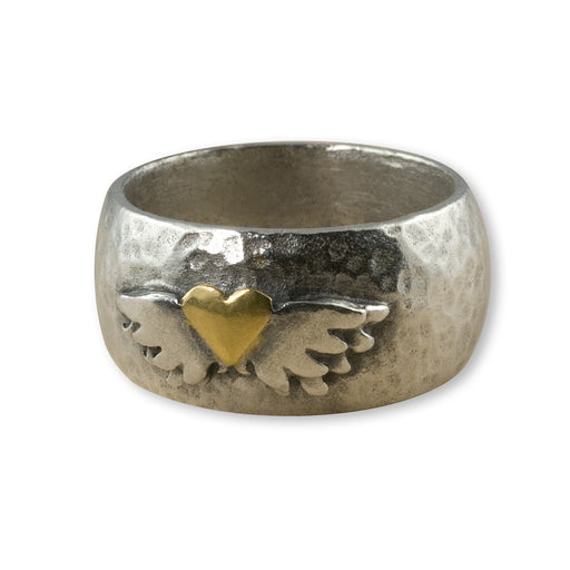Etruscan Winged Heart Ring