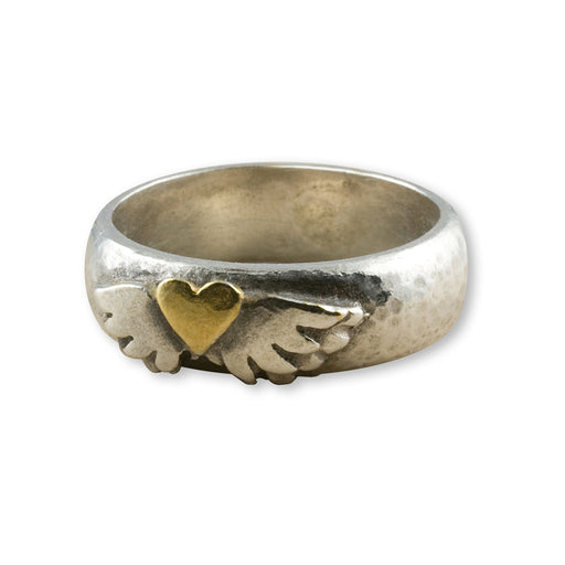 Roman Winged Heart Ring