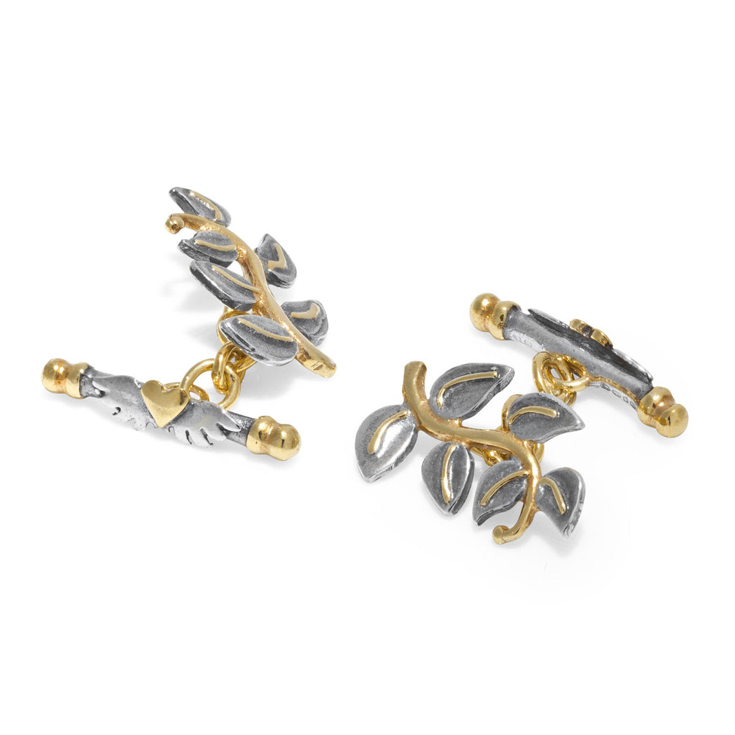 Silver and Gold Plated Leaf Cufflinks