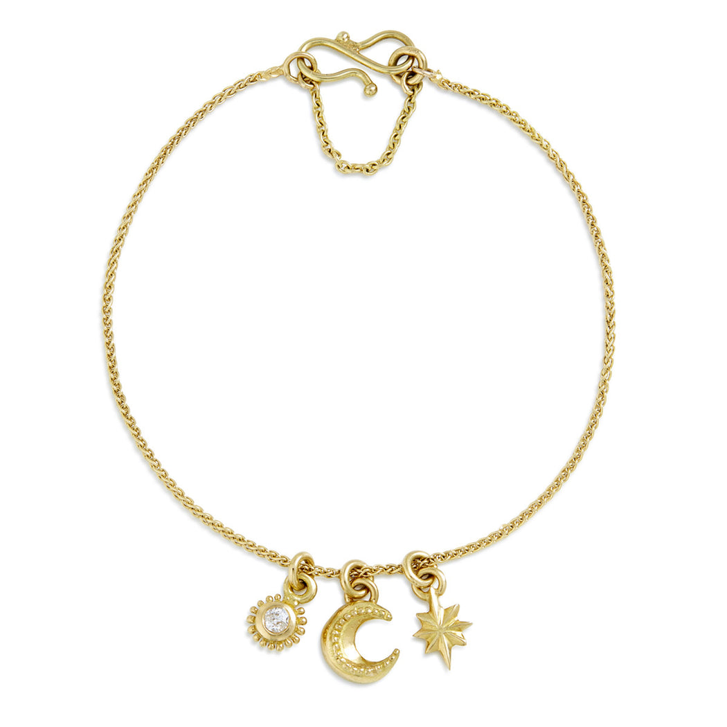 Gold & Diamond Cosmic Cluster Bracelet