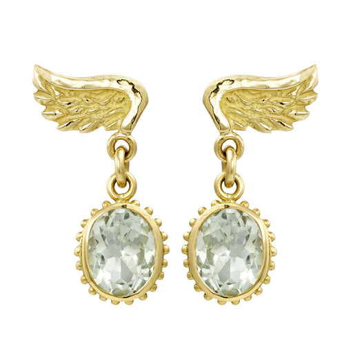 Gold Venetian Wing & Large Gem Drop Earrings