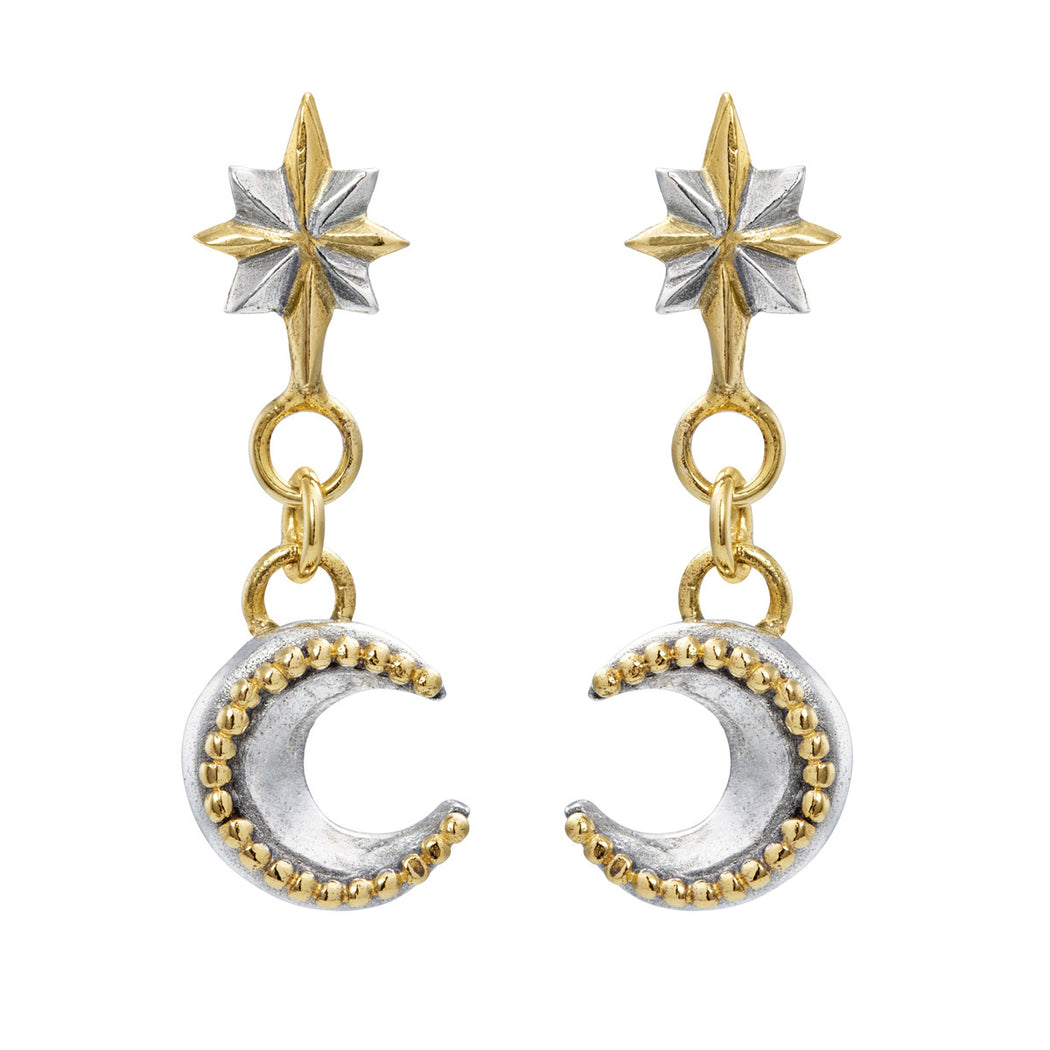 North Star & Mini Moon Drop Earrings