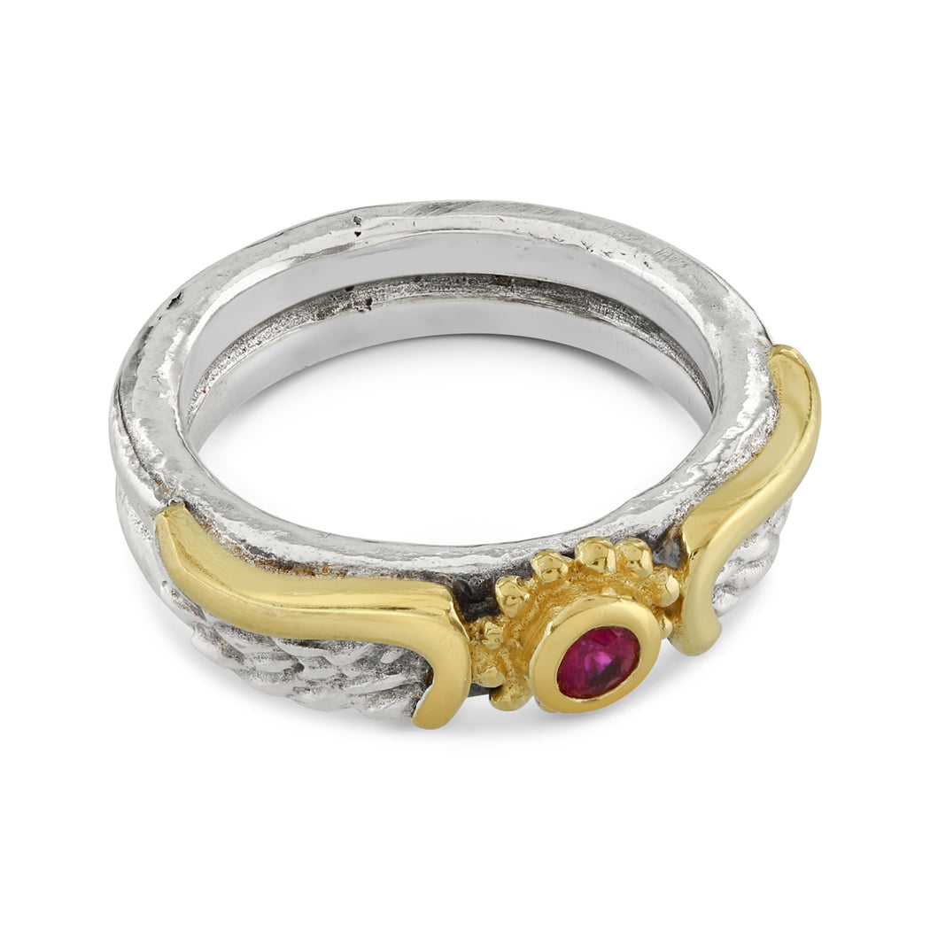 Ruby Venetian Wing Ring