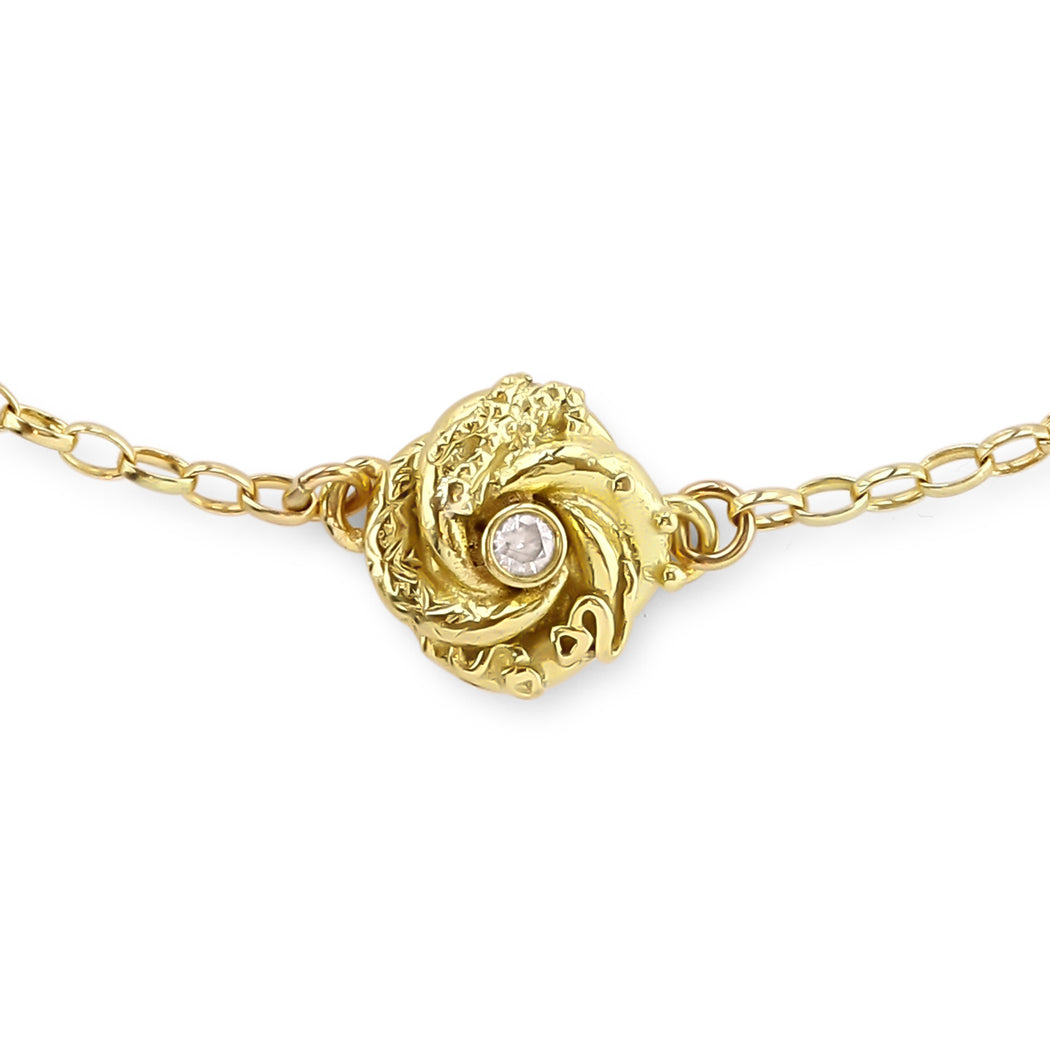 Gold & Diamond Tiny Loveknot Bracelet