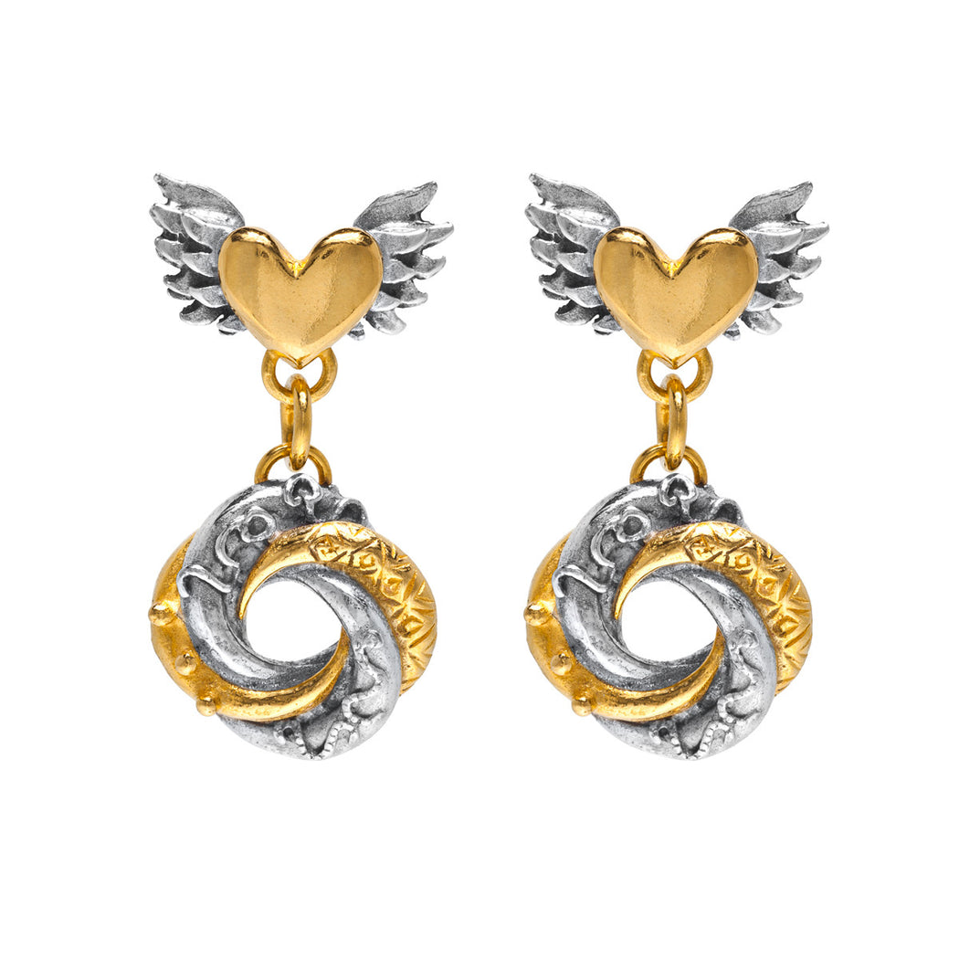 Winged Heart & Loveknot Earrings