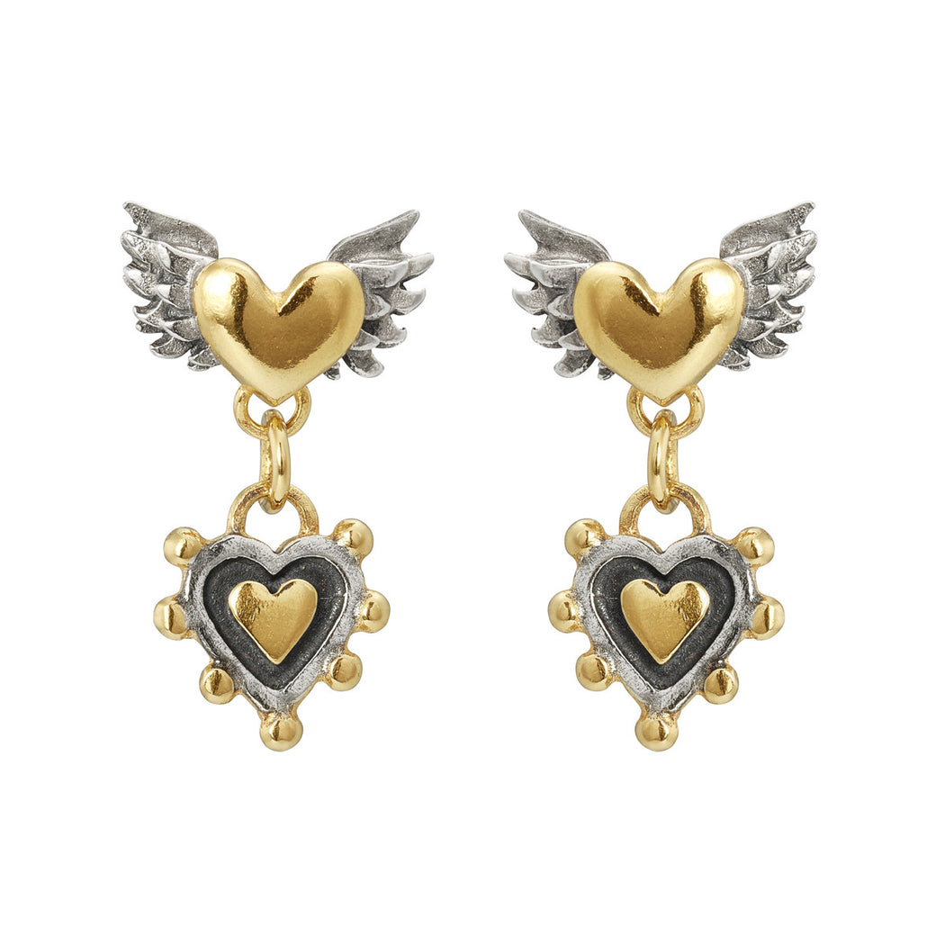 Winged & Sacred Heart Drop Earrings