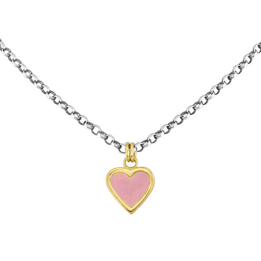 Large Classic Pink Enamel Heart Necklace
