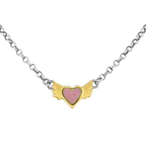 Pink Enamel Winged Heart Necklace