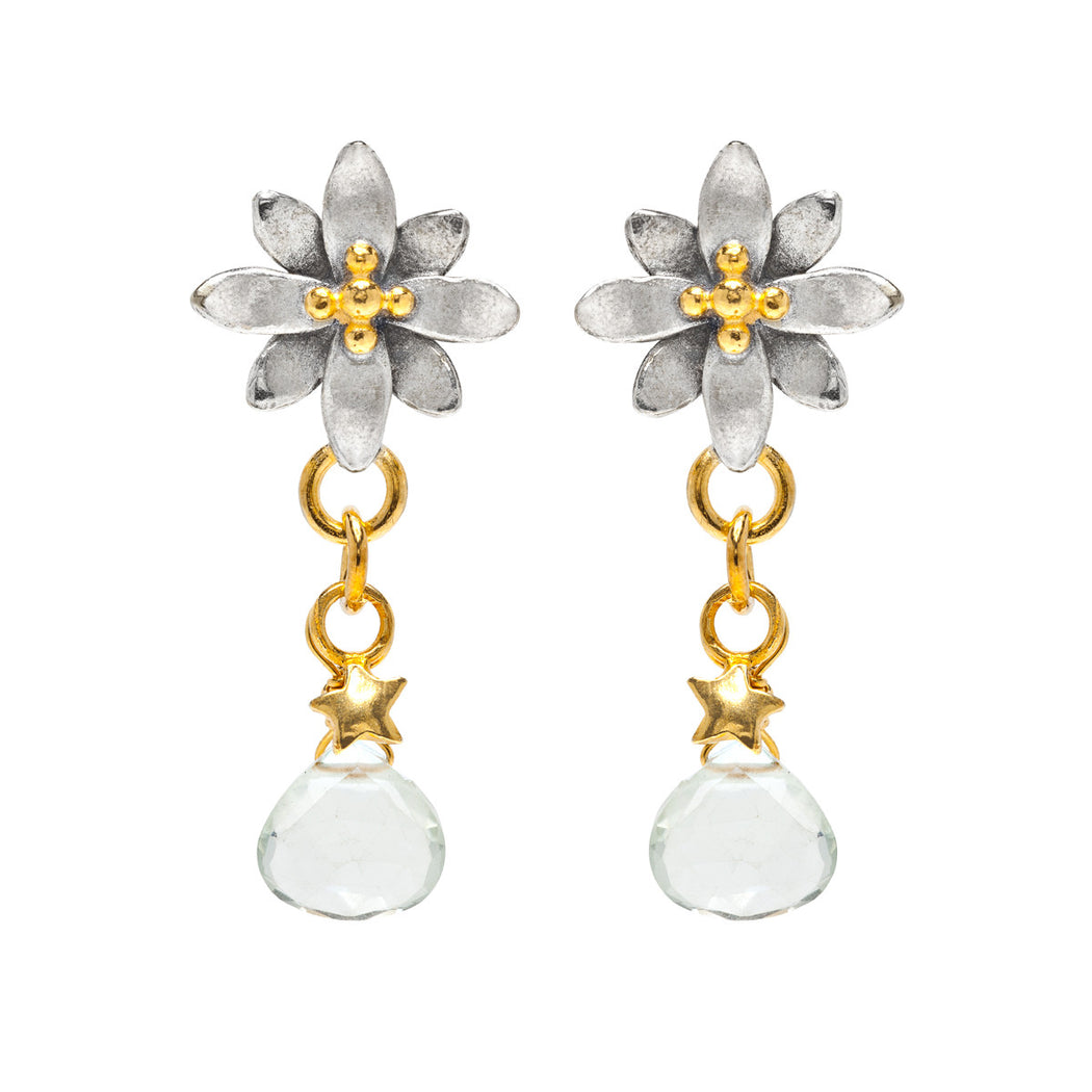 Spikey Flower Drop Earrings