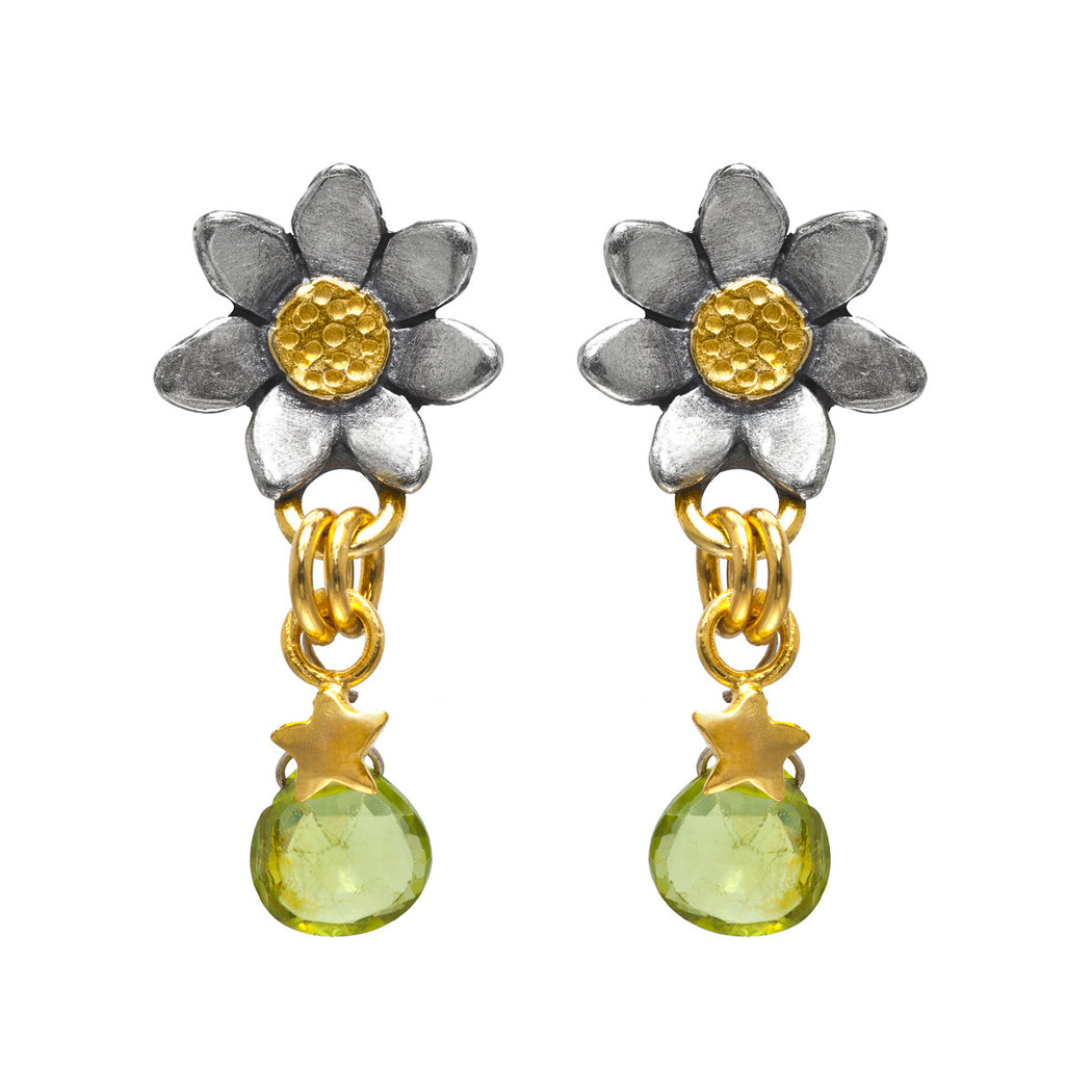 Classic Flower Stone Drop Earrings